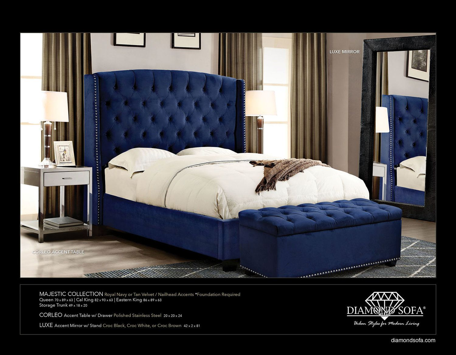 Majestic Collection Royal Navy Tufted Bed Tufted Headboard