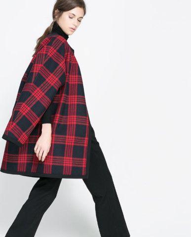 CHECKED STUDIO CAPE - Coats - WOMAN | ZARA United States