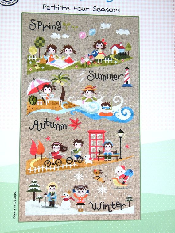 Contemporary cross stitch pattern and kit - four seasons, sampler ...