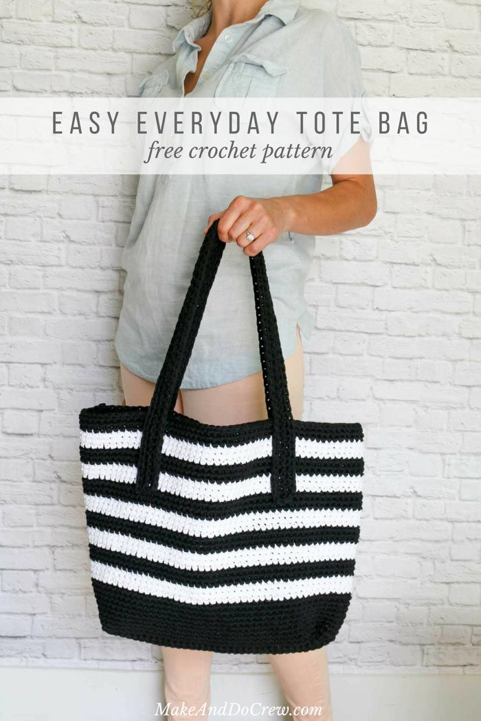 Crochet Tote Bag Free Pattern -- Modern + Classic Tote! | Pinterest ...