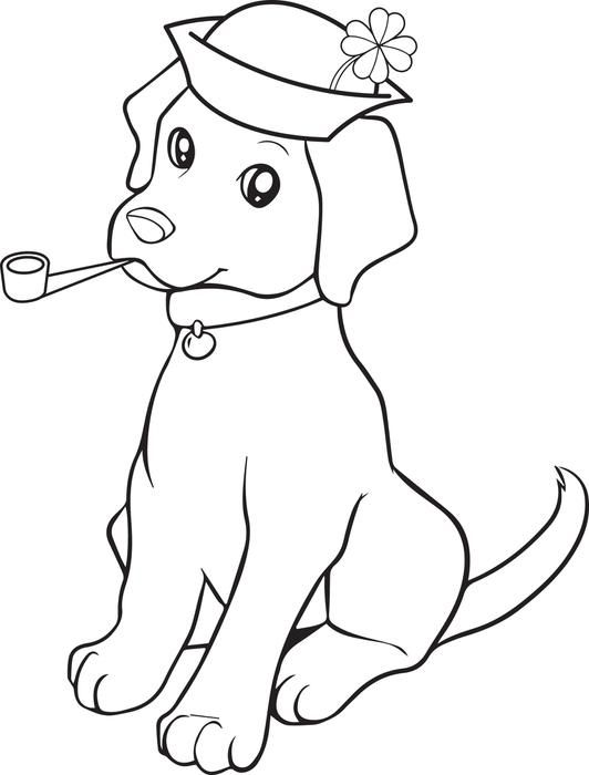 St. Patrick\'s Day Puppy Coloring Page | coloring pages | Puppy ...
