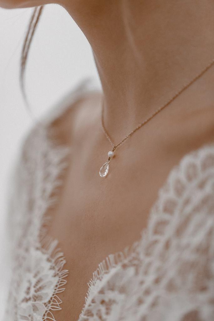 Collar de novia con gotas de cristal y perlas de agua dulce – Cupido