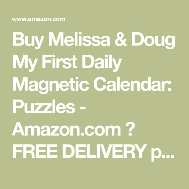 Buy Melissa Doug My First Daily Magnetic Calendar Puzzles