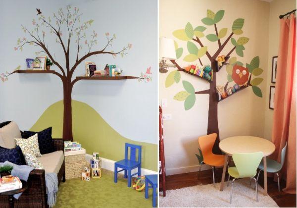 Idea para decorar una habitaci n infantil dibujar arboles for Paredes habitacion infantil