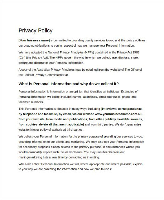 Privacy Policy Template Ecommerce | Consignment Agreement Form ...