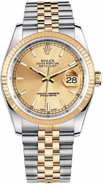 Rolex Datejust 36 Jubilee Bracelet Steel & Gold Watch 116233 #rolexdatejust