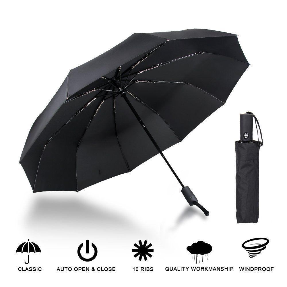 9745dc5652727 Foldable 10Ribs Auto Travel Umbrella Automatic Open Close Wind/Waterproof  98Cm