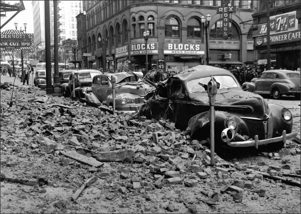 Earthquake Damage On Yesler Way Looking East From 1st Avenue April 13 1949 Pioneer Square Seattle Seattle History Earthquake Damage