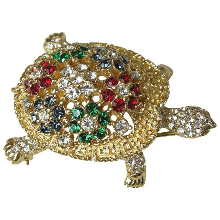 Vintage 1960s Ciner Turtle Brooch | From a unique collection of vintage brooches at https://www.1stdibs.com/jewelry/brooches/brooches/