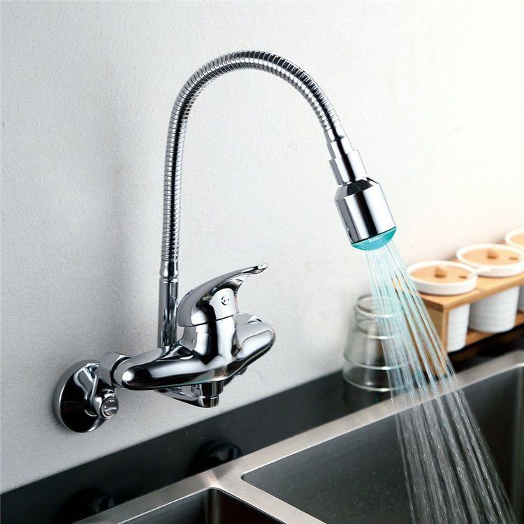 3色ledキッチン蛇口 壁付水栓 台所蛇口 冷熱混合水栓 クロム 回転可能