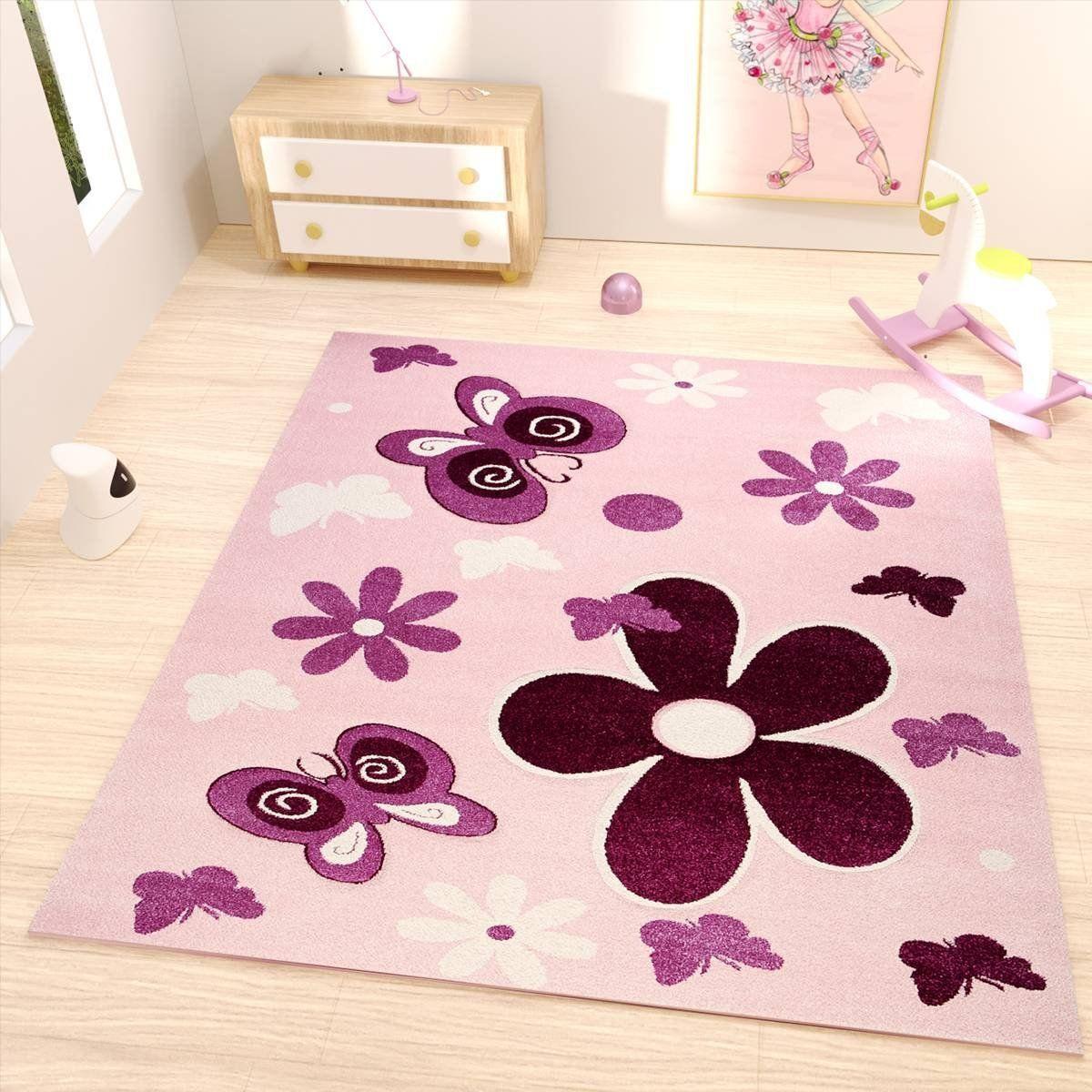 Kinderzimmer Teppich Modern Pink Lila Flauschig Blumen Schmetterlinge Konturenschnitt Geprüft Von Ökotex Lila Teppich Teppich Kinderzimmer Lila Kinderzimmer