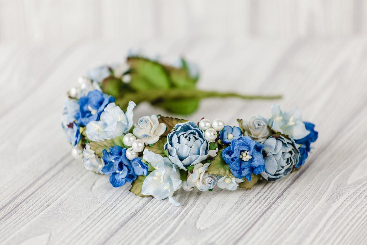 Blue Flower Headpiece Blue Flower Crown Wedding Blue Hawaiian