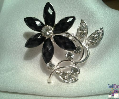 $14.25: Silver Black Lotus Floral Flower Multi Faceted Rhinestone Brooch Pin