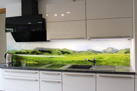 Spritzschutz Glas Herd Kuche Grun Weiss Pesto Motiv Kuchenruckwand