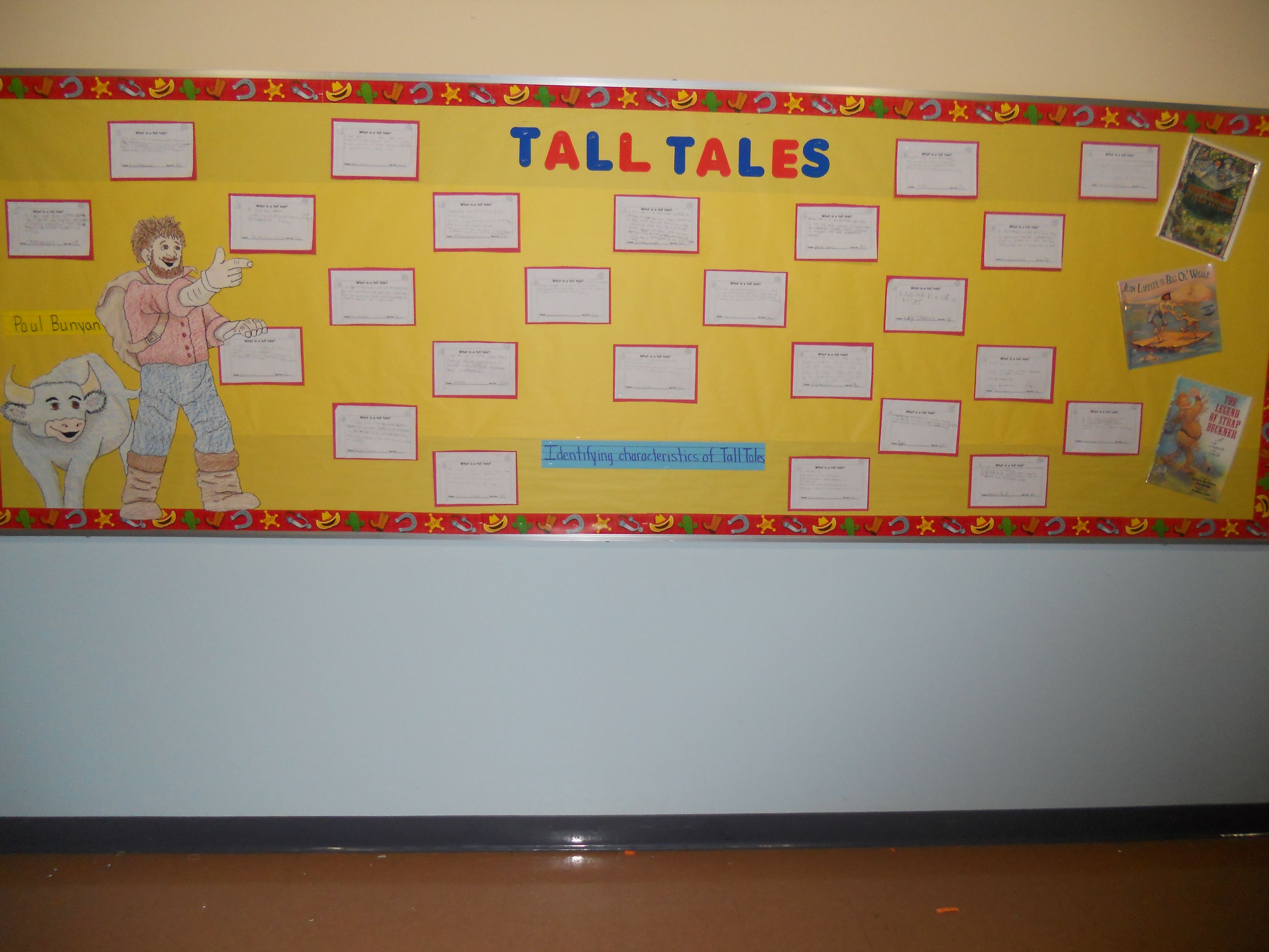 Tall Tales Bulletin Board Displaying The Kids Definitions