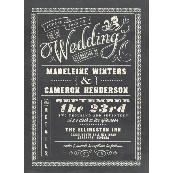 Chalkboard Charm Wedding Invitations By Elli  Wedding Invitations