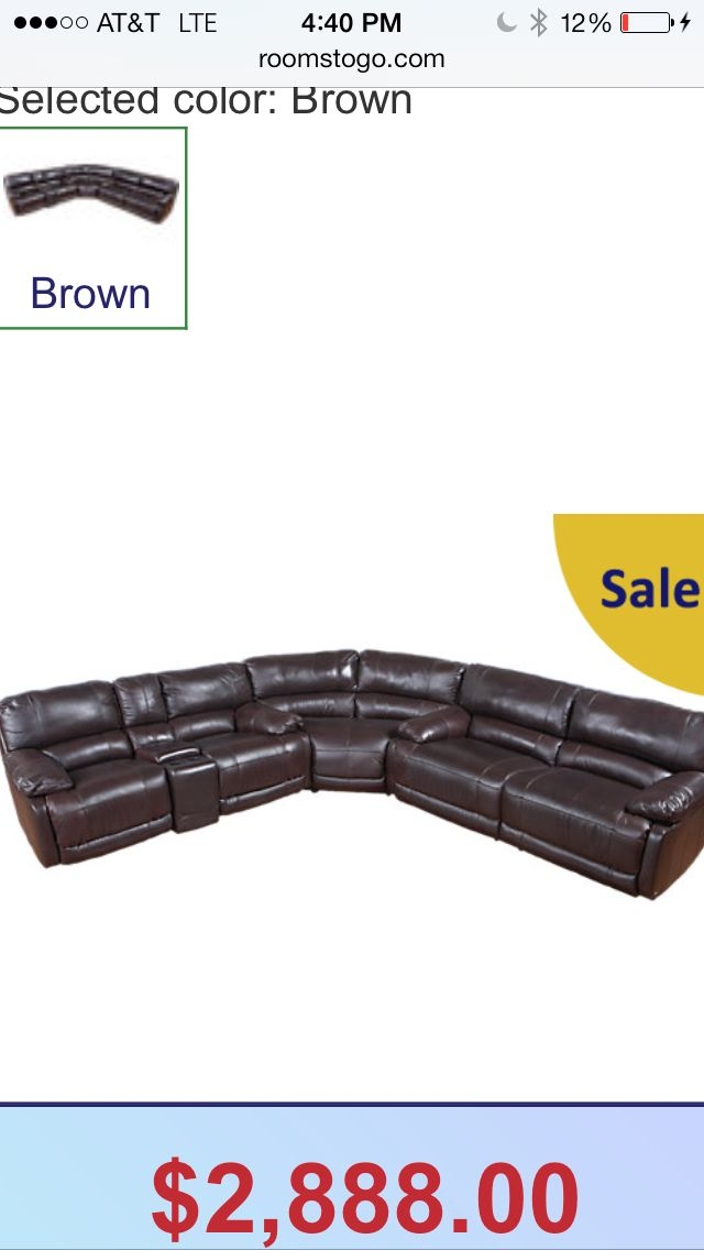 Rooms to go. Loving this couch. It's matched leather so you get 100% genuine leather anywhere your body touches and the backs and sides are bonded leather. Just be sure to keep it out of direct sunlight because over time the difference in color between the seats and rest of the couch will become obvious if left in sun. $2,880