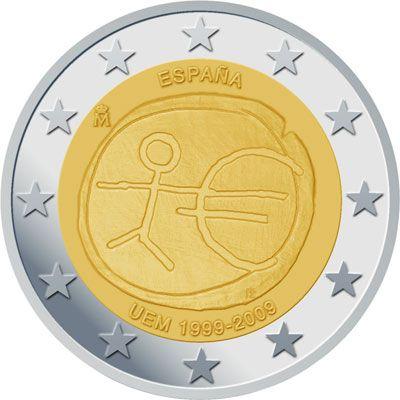 Moneda De 2 Año 2009 Conmemorativa 10º Aniversario Emu Unión