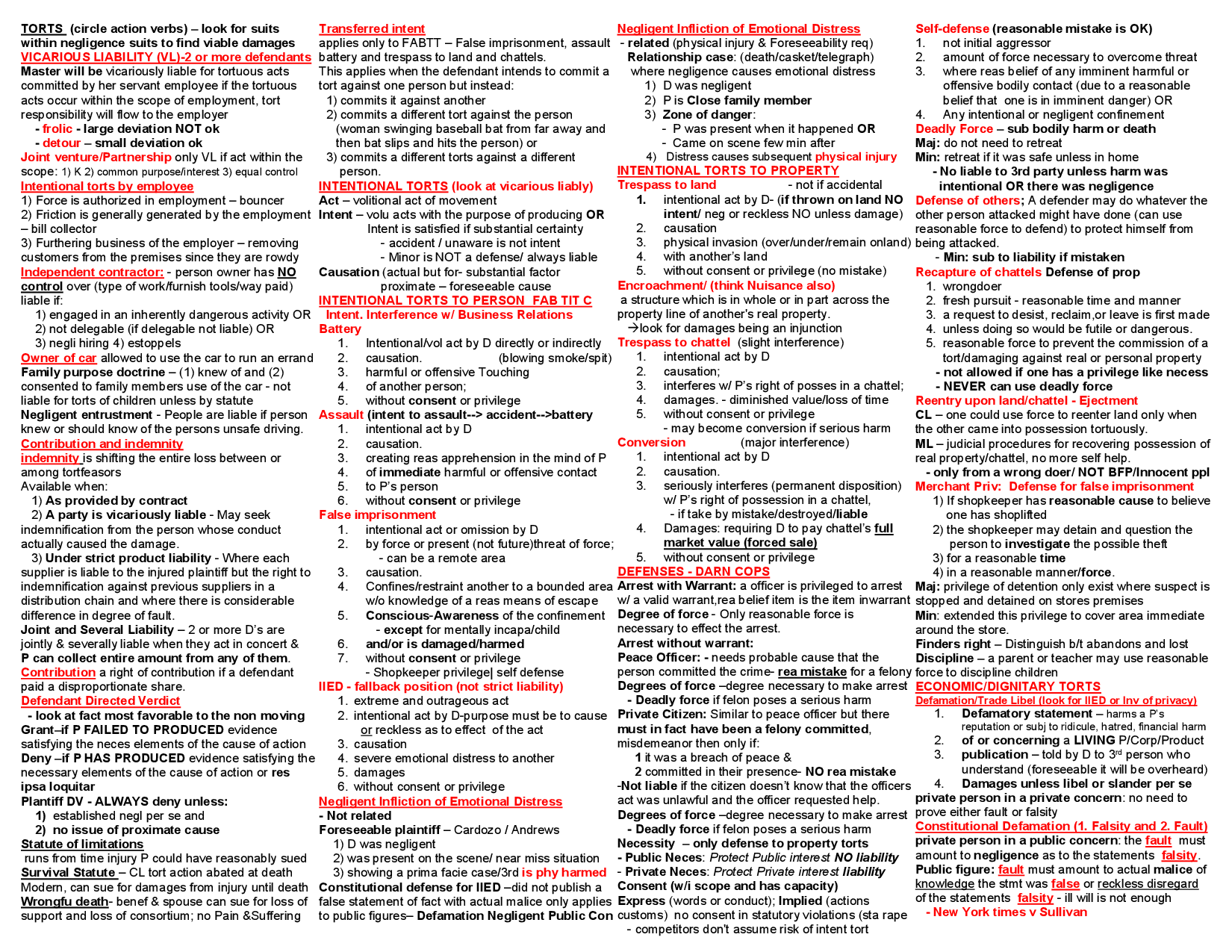 One Page Law School Amp Bar Exam Torts Law Outline Pg 1