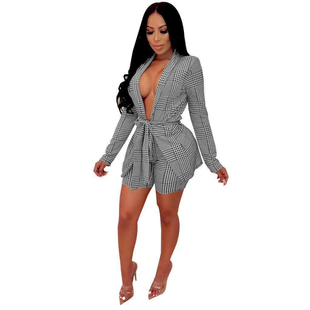 a8d54d05eb030 ANJAMANOR Plaid Printed Two Piece Set Deep V Blazer Top and Shorts ...