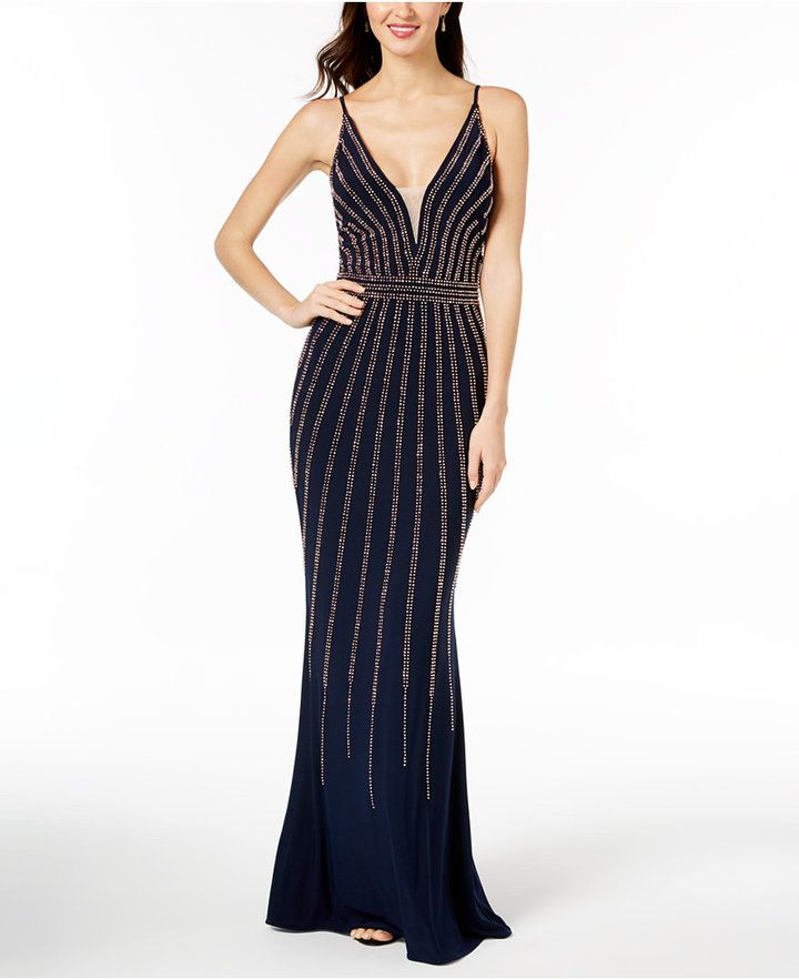 f83ea8cfe9f1f Xscape Beaded V-Neck Gown Available Colours  Navy Rose Gold Available  Sizes  4