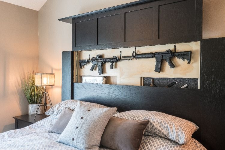 His and Hers headboard with 5-Secret Compartments. Gun Safe. Gun Storage. Diversion Safe. Concealment Furniture Solutions. His, Hers, Ours. Remote Controlled Main Secret Compartment. Additional drop-down compartments and separate leg compartments with electronic locking mechanisms.