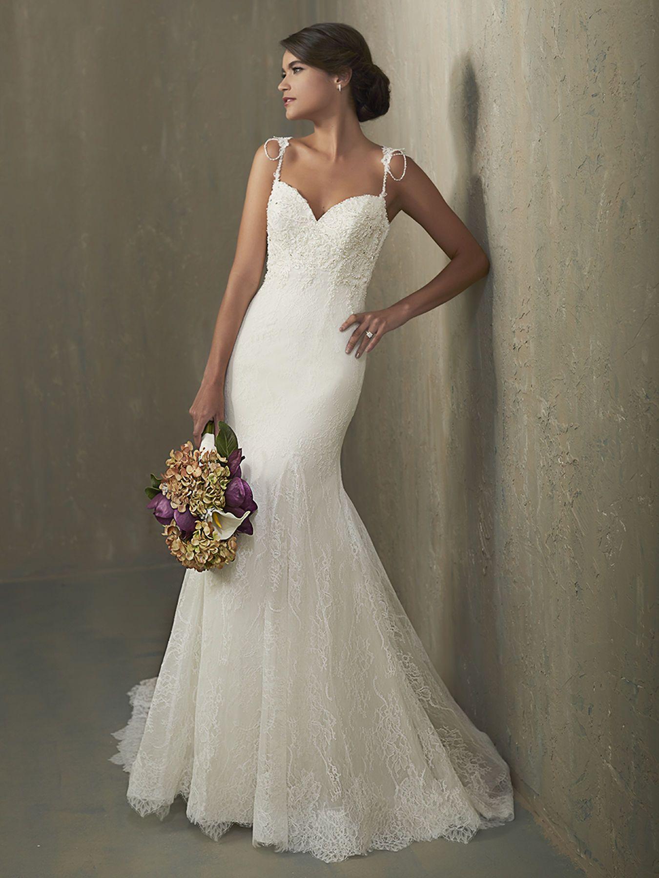 Lace strap wedding dress  Ivy  Wedding Spotlights  Pinterest  Adrianna papell Lace