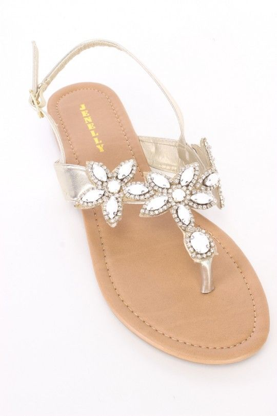 458aeec9d857b Gold Gemstone Floral Thong Sandals Faux Leather