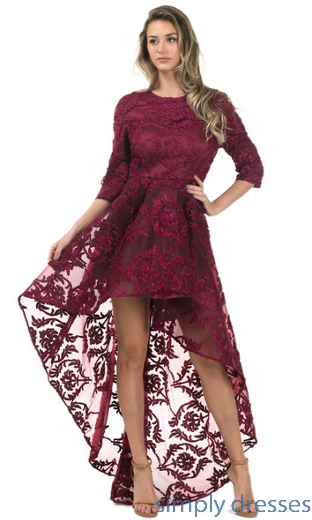 Highlow lace dress with length sleeves in prom dresses