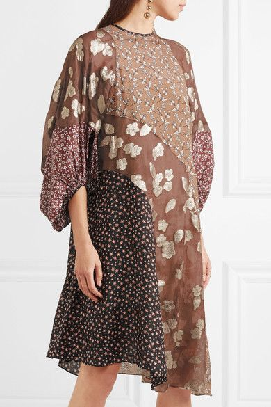 BIYAN . Loki asymmetric printed silk-chiffon dress . Multicolored silk-chiffon Button-fastening keyhole at back 83% silk, 15% polyester, 2% polyamide  Specialist clean Imported