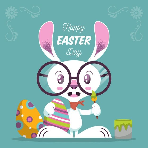 Flat happy easter day Free Vector  Free Vector