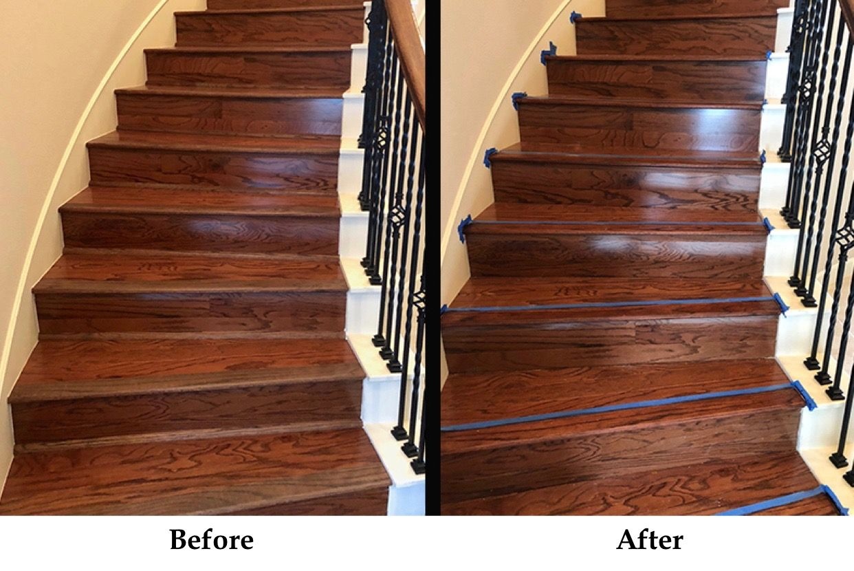 This customer wanted the stair noses stained to match the