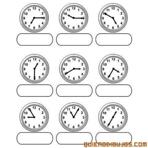 Relojes con distintas horas para colorear | Cálculo mult. 1 ...