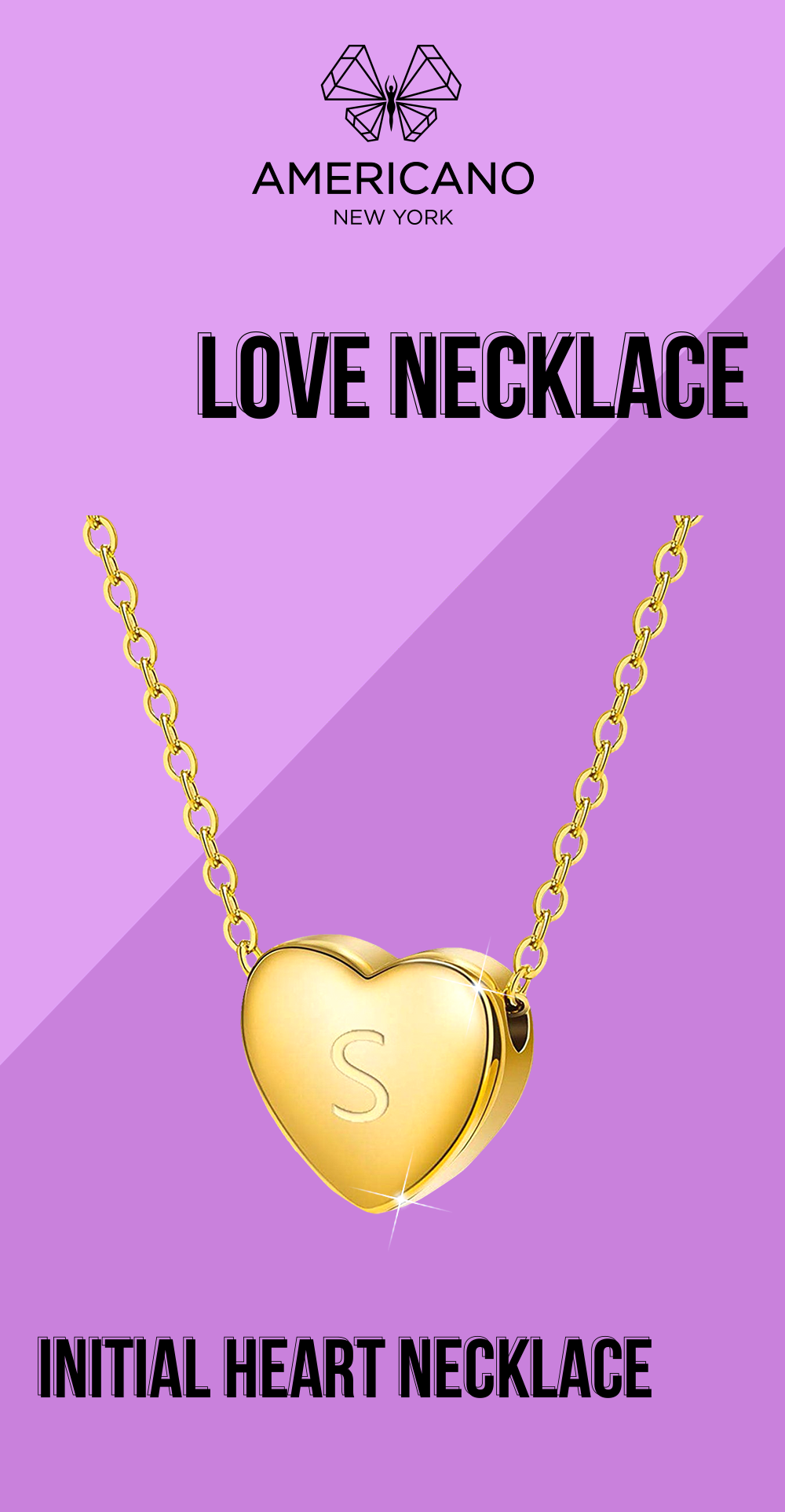 Photo of Americano Crsystals -Gold Heart Initial Necklace
