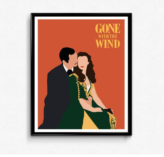 Gone with the Wind Minimalist Movie Quote Poster Minimal Film Posteritty Kiss