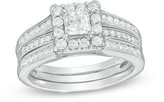 1 CT. T.W. Princess-Cut Diamond Frame Bridal Set in 14K White Gold - $2,699.99