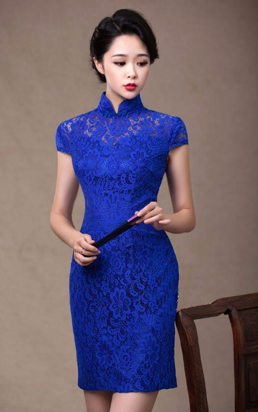 Royal Blue Detailed Pattern Lace Knee Length Qipao Wedding Dress
