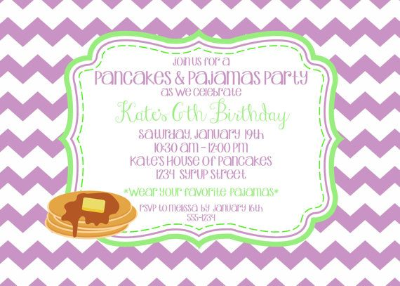 Pancakes pajamas birthday party invitation with chevron background pancakes pajamas birthday party invitation with chevron background colors can be customized filmwisefo Gallery