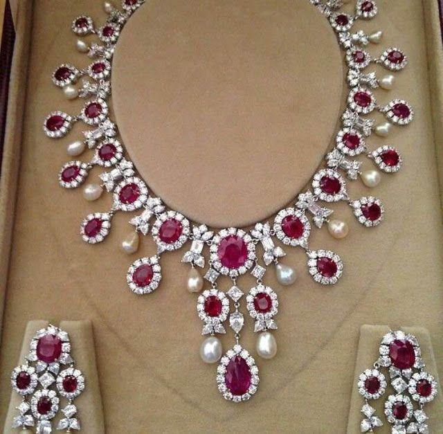 Diamond Ruby Necklace Jewellery Designs