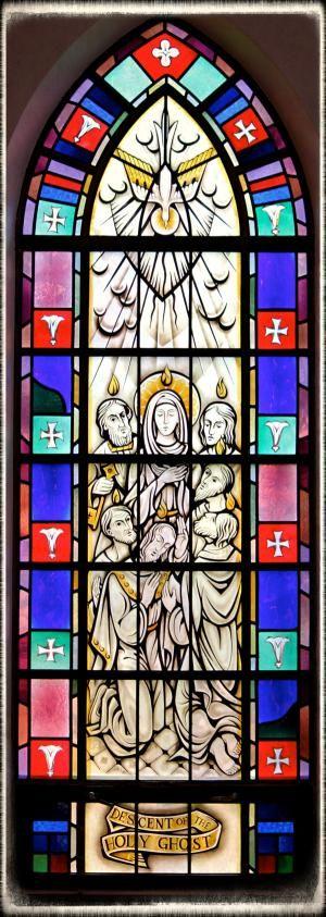 Stained-glass window of Pentecost in Saint Mary's Church, Painesville, OH. (© Scott P. Richert) - (Photo © Scott P. Richert)