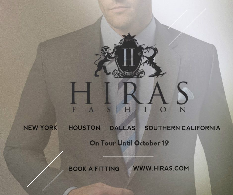 2016 Tour New York, Houston, Dallas, Southern California  Book a fitting: info@hiras.com #bespokesuits