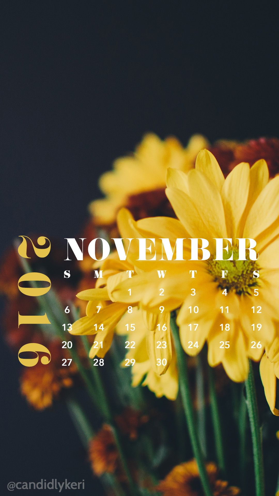 Pretty Yellow Flowers November Calendar 2016 Wallpaper You Can
