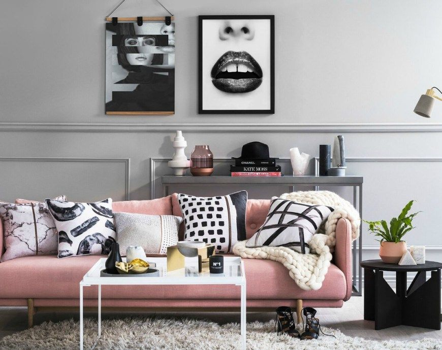 The Time To Try Black Walls At Home Is Now  Pink Sofa Shag Rugs Simple Pink Living Room Furniture Inspiration
