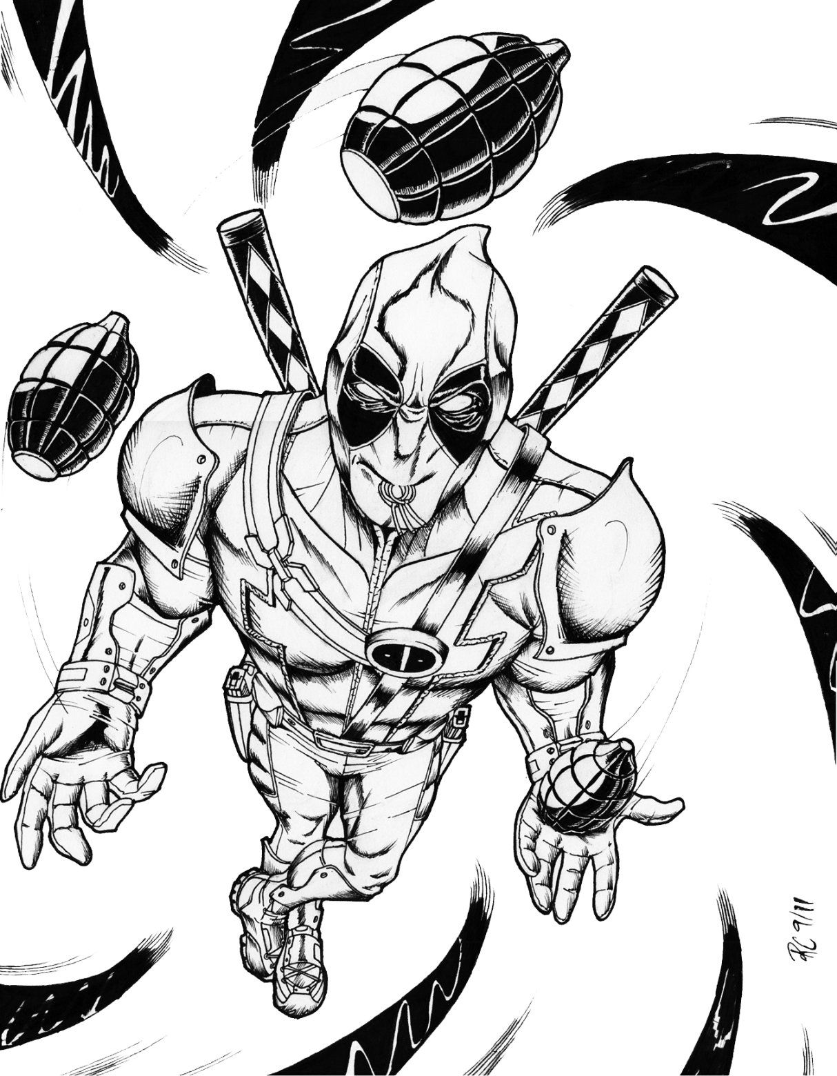 Printable coloring pages Deadpool Superheroes Superheroes
