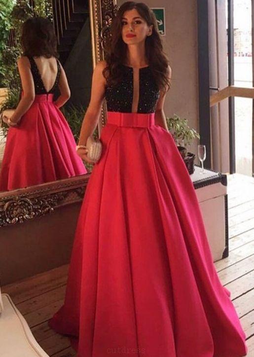 Modest Red Beading Long A-line Satin Prom Dresses Evening Dresses ...