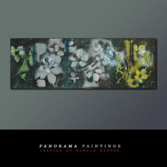 Black Flowers Landscape  XL Abstract painting door PanoramaPaintings, $399.00