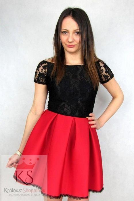 dd7645eec7 Sukienka rozkloszowana z koronką czerwona czarna fashion4u.pl ...
