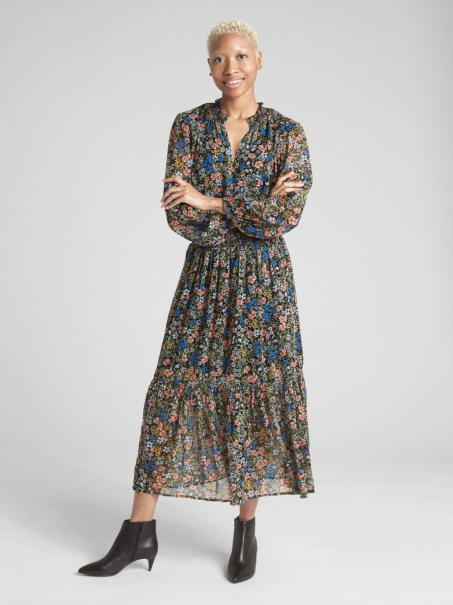 374b20b2 Floral Print Long Sleeve Smocked Midi Dress | Gap | Print and ...