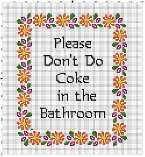 Please Don T Do Coke In The Bathroom Instant Download Etsy Cross Stitch Beginner Cross Stitch Alphabet Cross Stitch Funny
