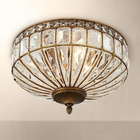Ibeza 15 1/2″ Wide Crystal Mocha Flushmount Ceiling Light